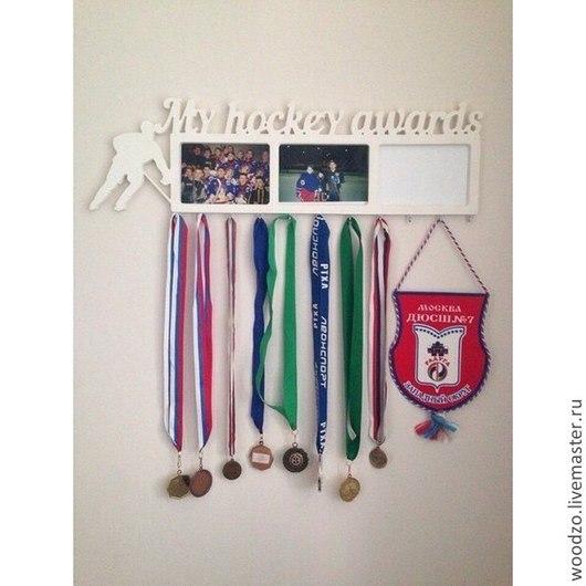 Прихожая ручной работы. Ярмарка Мастеров - ручная работа. Купить Холдер для медалей. Handmade. Бирюзовый, медали, слова из дерева