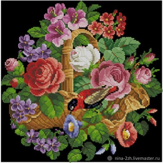 The scheme for embroidery: Bouquet in a basket, Patterns for embroidery, Penza,  Фото №1