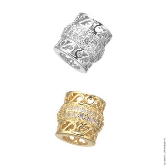 Бусина бочонок с завитком, серебро и золото (Milano) Евгения (Lizzi-stones-2)