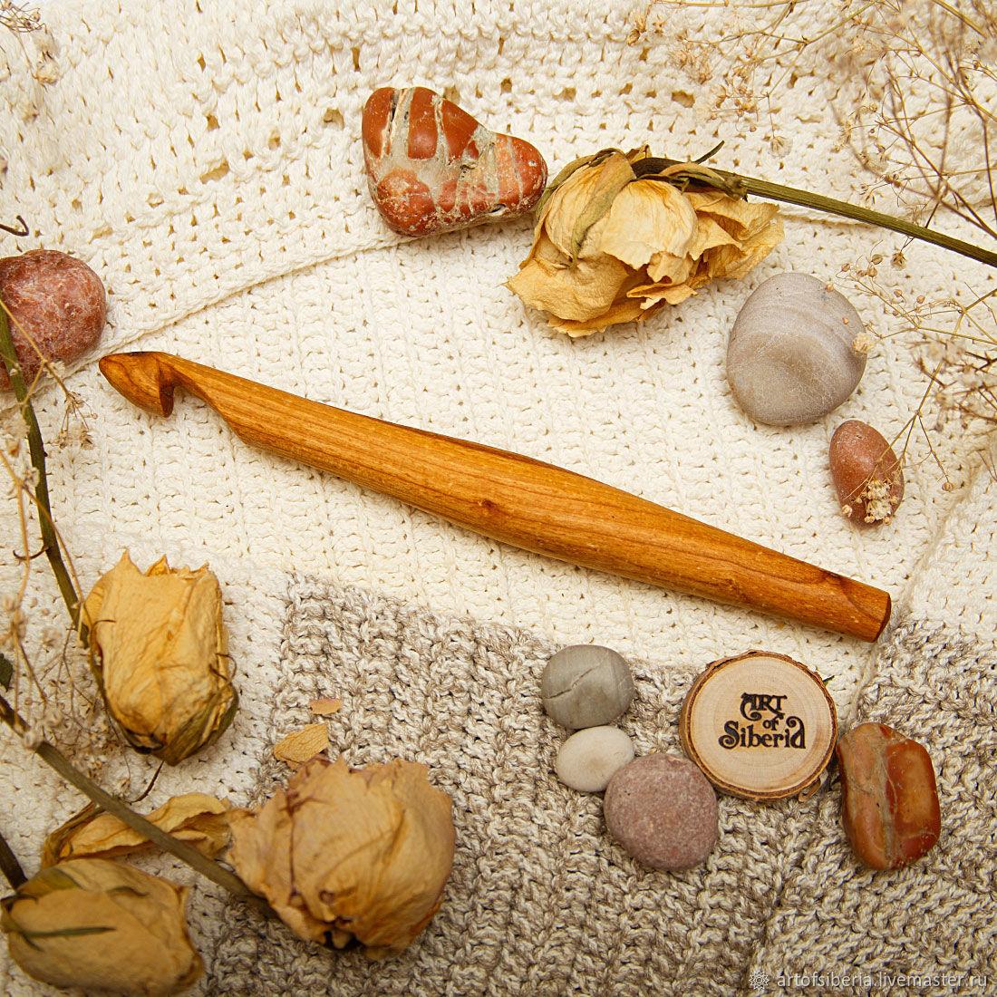 Деревянный Крючок для вязания 15 мм Вишня Крючки из дерева #K60, Инструменты для вязания, Новокузнецк, Фото №1