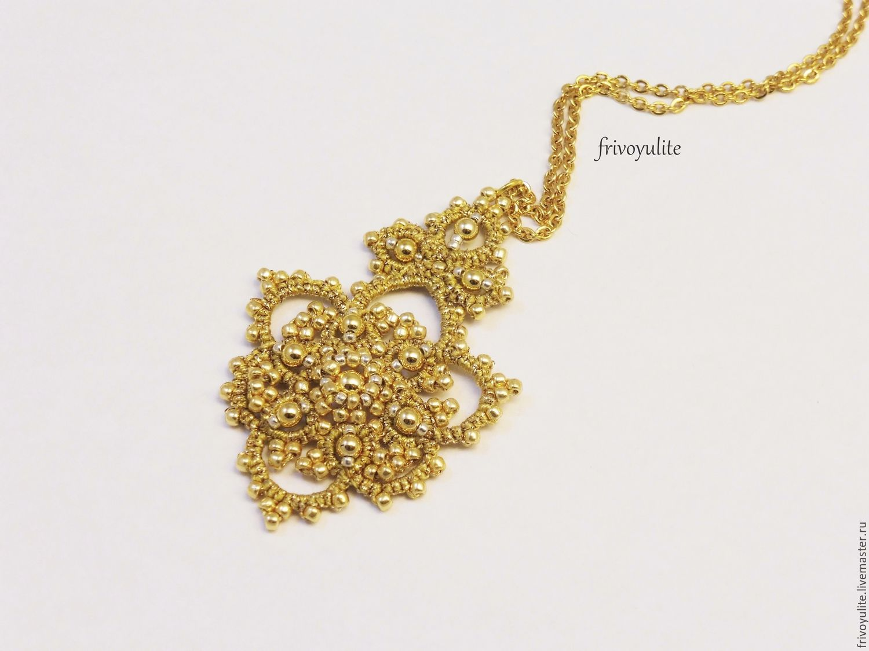 ... золотой кулон фриволите золотой кулон кружевной вечерние украшения  украшения на выход купить золотой кулон золотые украшения ... 96c8b3c726e
