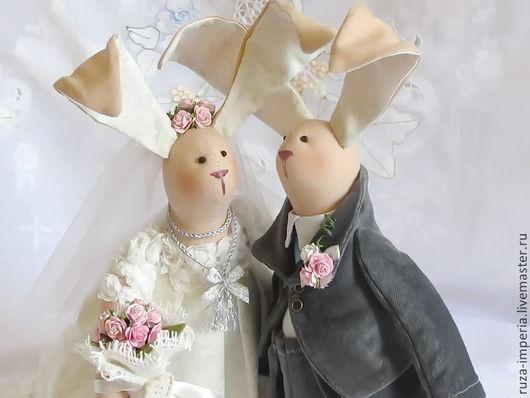 Куклы Тильды ручной работы. Ярмарка Мастеров - ручная работа. Купить Свадебные Зайцы. Handmade. Тильда, душевный подарок, батист