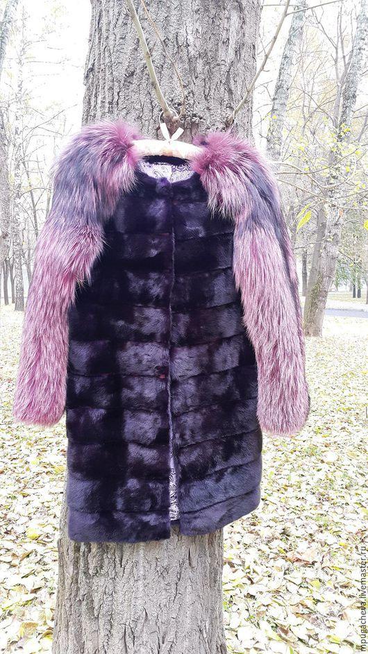 Верхняя одежда ручной работы. Ярмарка Мастеров - ручная работа. Купить Шуба из меха норки и лисы. Handmade. Тёмно-фиолетовый