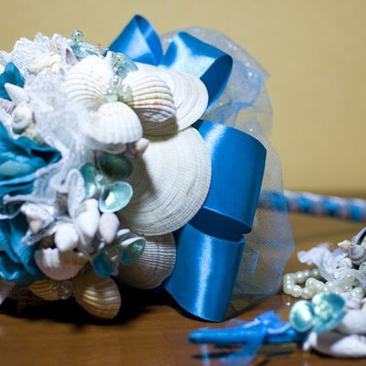 """Свадебные цветы ручной работы. Ярмарка Мастеров - ручная работа. Купить Комплект свадебных аксессуаров из ракушек """"Лагуна"""". Handmade. Бирюзовый"""