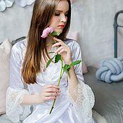 Одежда ручной работы. Ярмарка Мастеров - ручная работа Будуарное платье Атласное Утро невесты. Handmade.