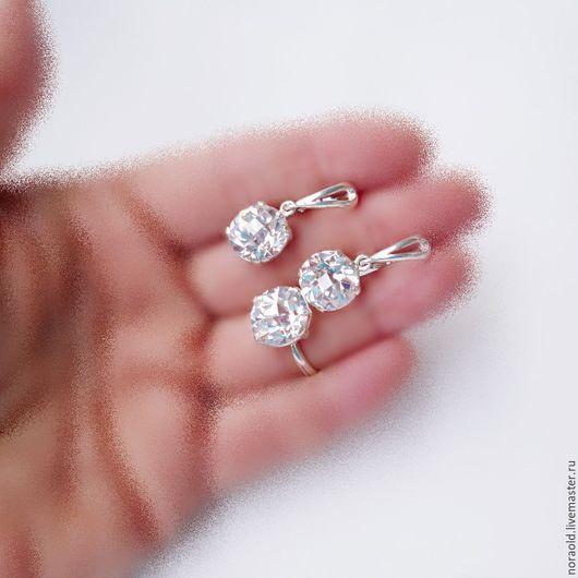 серебро 925, цитрин огранка, цитрин в серебре, серьги, кольцо, серебряные украшения, украшение на руку, украшения из серебра, подарок девушке женщине, украшения с кристаллами