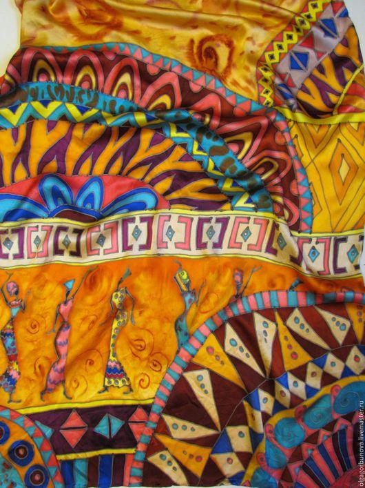 """Шали, палантины ручной работы. Ярмарка Мастеров - ручная работа. Купить Батик палантин  """" Африканские орнаменты"""" коллекция """"Африка"""". Handmade."""