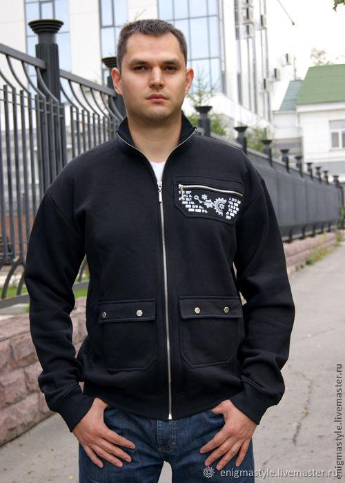 Black men's hoodie with Aviator collar, zip-up sweatshirt, Sweatshirts for men, Novosibirsk,  Фото №1