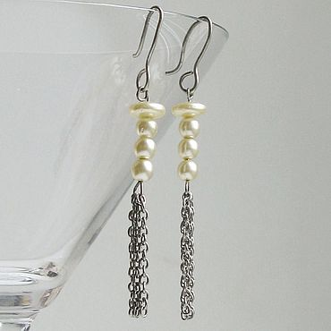 Vintage. Livemaster - original item Vintage long earrings with faux perle. Handmade.