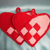 Для дома и интерьера ручной работы. Ярмарка Мастеров - ручная работа пирхватка вязанная сердце. Handmade.