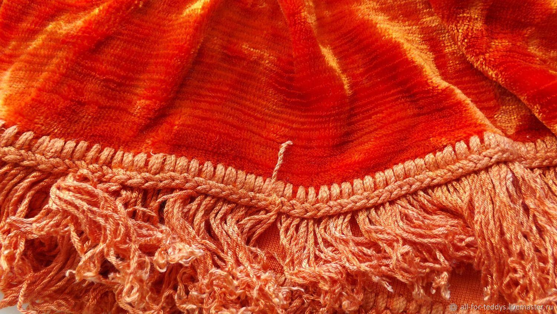 Плюш для Тедди винтаж ярко-оранжевый (50 х 40 см) СССР 1950-60-е, Винтажная одежда и аксессуары, Санкт-Петербург, Фото №1