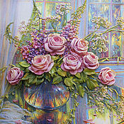 Pictures handmade. Livemaster - original item Embroidery ribbons Roses at sunset. Handmade.