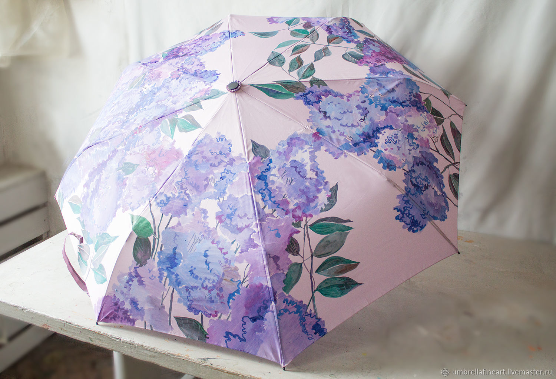 Folding umbrella machine with hand-painted ' Lilac', Umbrellas, St. Petersburg,  Фото №1