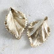 Материалы для творчества handmade. Livemaster - original item 1805_1_Подвеска 30х44 mm gold-Plated pendant, Pendant leaves. Handmade.