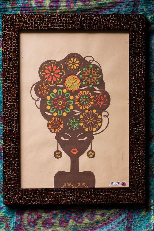 Люди, ручной работы. Ярмарка Мастеров - ручная работа. Купить Африканская красота. Handmade. Комбинированный, картинка, картина, вырезание