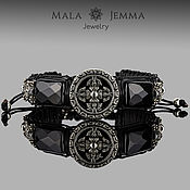 Украшения handmade. Livemaster - original item wide leather men`s bracelet with onyx and vajra. Handmade.