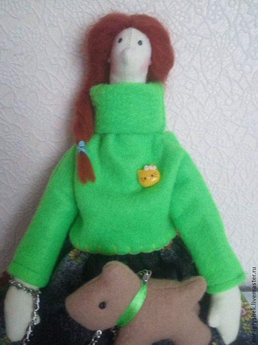 Куклы Тильды ручной работы. Ярмарка Мастеров - ручная работа. Купить Девушка с собачкой. Handmade. Кукла ручной работы