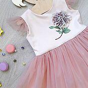 Работы для детей, handmade. Livemaster - original item Elegante Fatinovoe vestido para niña con rasshitym estampado de hortensia. Handmade.