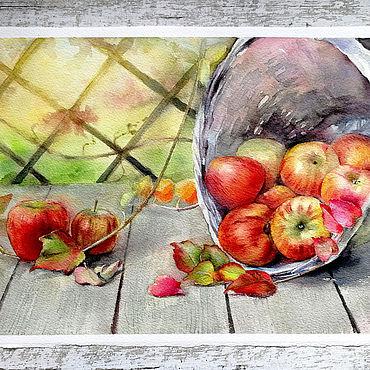 """Картины и панно ручной работы. Ярмарка Мастеров - ручная работа Акварельная картина """"Осенний натюрморт с яблоками"""". Handmade."""