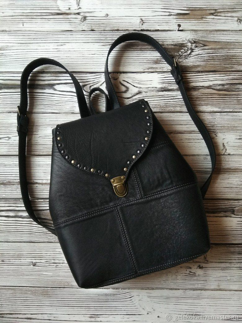Backpack made of genuine leather, this boho 'Summer day' black, Backpacks, St. Petersburg,  Фото №1