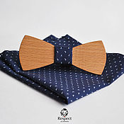 Аксессуары handmade. Livemaster - original item Wooden butterfly tie Boyar dark blue pocket square. Handmade.