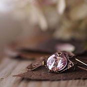 Серьги винтажные сиренево-розовые