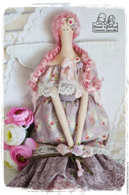 Куклы Тильды ручной работы. Ярмарка Мастеров - ручная работа. Купить Ангелок  хранитель ключей от  тайн. Handmade. Розовый, хранительница