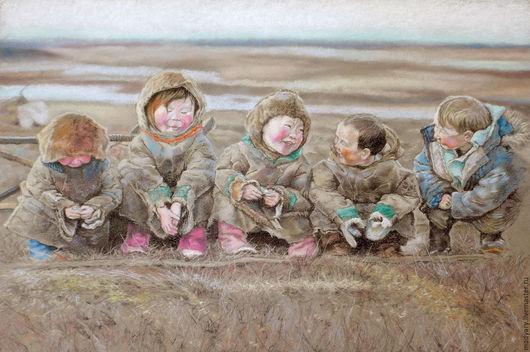 Люди, ручной работы. Ярмарка Мастеров - ручная работа. Купить картина пастелью Счастье - это просто... (бежевый, пепельный, осень). Handmade.