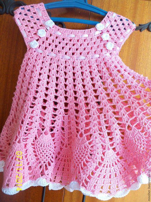 Одежда для девочек, ручной работы. Ярмарка Мастеров - ручная работа. Купить Ажурное розовое платье для девочки 2-х лет, хлопок. Handmade.