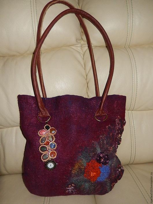 Женские сумки ручной работы. Ярмарка Мастеров - ручная работа. Купить Магия камня. Handmade. Валяная сумка с цветами