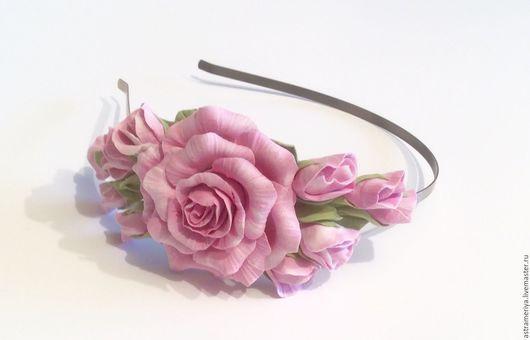 Диадемы, обручи ручной работы. Ярмарка Мастеров - ручная работа. Купить Ободок  с цветами из полимерной глины Принцесса. Handmade. для принцессы