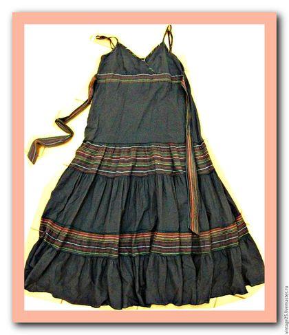 Одежда. Ярмарка Мастеров - ручная работа. Купить Платье сарафан в пол Хлопок. Handmade. Синий, платье сарафан, Синее платье