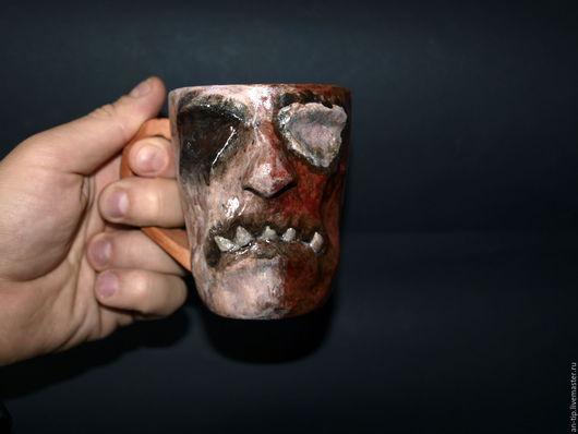 Подарки на Хэллоуин ручной работы. Ярмарка Мастеров - ручная работа. Купить Зомби чашка. Handmade. Чёрно-белый, хеллоуин