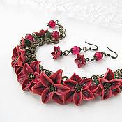 Украшения handmade. Livemaster - original item Flower set of jewelry made of polymer clay: Lily earrings bracelet. Handmade.
