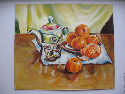 Натюрморт ручной работы. Ярмарка Мастеров - ручная работа. Купить картину `натюрморт с мандаринами`.