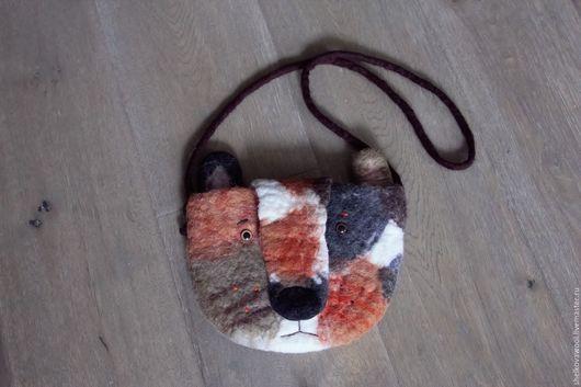 Сумка `Грустный кот` ручной работы. Размеры сумки 24х19 см.