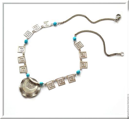 Колье и серьги из винтажного серебра 925 пробы, вставки - аризонская бирюза Спящая красавица, подвеска - серебро Карен Хилл. Украшение в греческом стиле Афины.