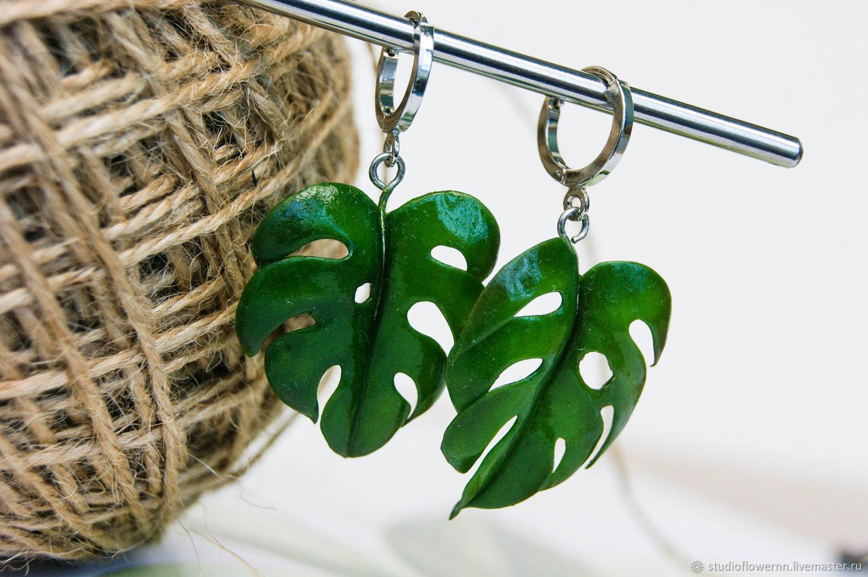 Monstera earrings, polymer clay, Earrings, Nizhny Novgorod,  Фото №1