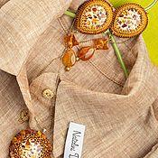 Блузки ручной работы. Ярмарка Мастеров - ручная работа Копия работы Рубашка в мужском стиле размер oversize лен песок меланж. Handmade.