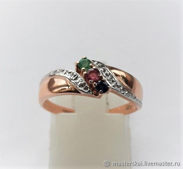 Ring: ' Vesta - emerald, ruby, sapphire, gold 585, Rings, Moscow,  Фото №1