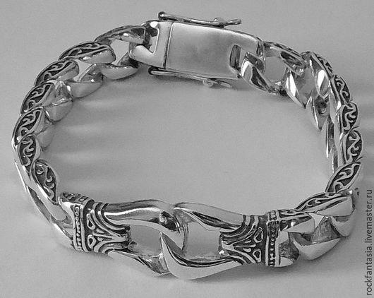 Украшения для мужчин, ручной работы. Ярмарка Мастеров - ручная работа. Купить Серебряный мужской браслет с кельтским узором. Handmade.