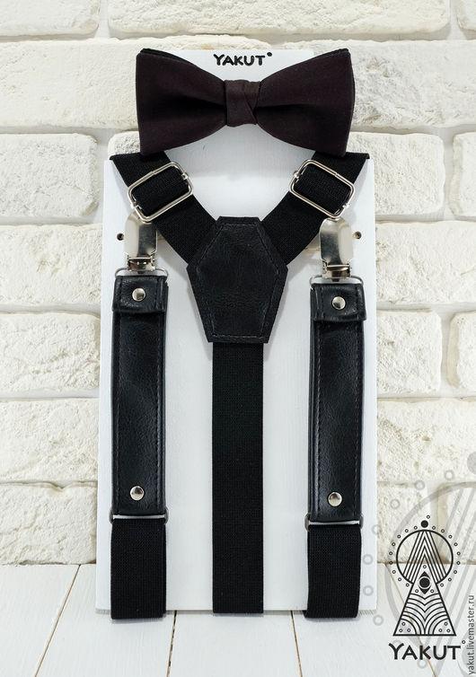 Комплекты аксессуаров ручной работы. Ярмарка Мастеров - ручная работа. Купить Подтяжки + бабочка Чернее черного / галстук-бабочка, помочи. Handmade.