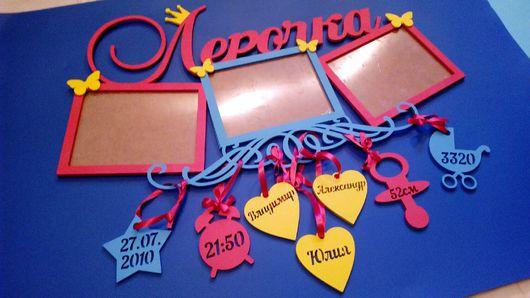 Детская ручной работы. Ярмарка Мастеров - ручная работа. Купить Метрика с фоторамкой и именем ребенка. Handmade. Метрика, детская метрика