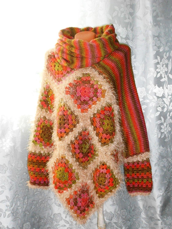 Пончо - свитер + снуд. Гармония красок. Двустороннее пончо, Свитеры, Абакан, Фото №1