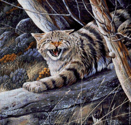 """Вышивка ручной работы. Ярмарка Мастеров - ручная работа. Купить Набор для вышивания бисером  """" Лесной кот"""". Handmade. волки"""
