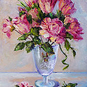 Картины и панно handmade. Livemaster - original item Oil painting on canvas Roses,a bouquet of flowers in a vase painting. Handmade.