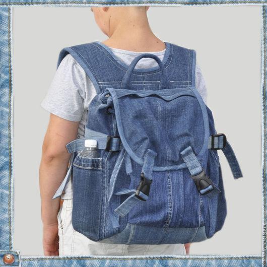 Рюкзаки ручной работы. Ярмарка Мастеров - ручная работа. Купить Джинсовый рюкзак. Handmade. Тёмно-синий, туристический рюкзак, люверсы