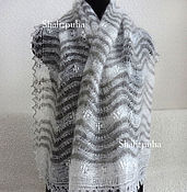 Аксессуары handmade. Livemaster - original item 43, Stole Downy knitted goat down wave grey With white. Handmade.