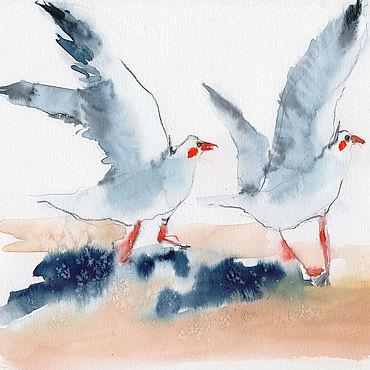 """Картины и панно ручной работы. Ярмарка Мастеров - ручная работа """"Хватай и бежать!"""" акварель (птицы, синий, морской). Handmade."""