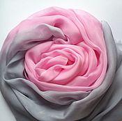 Аксессуары ручной работы. Ярмарка Мастеров - ручная работа Палантин розово-серый шелковый. Handmade.